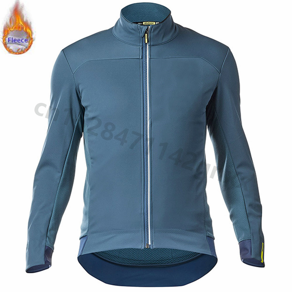 MAVIC 2019 New Blue Winter Mens Cycling Jerseys Keep Warm Long Sleeve pro team MTB Bike Jersey Thermal Fleece Maillot Ciclismo