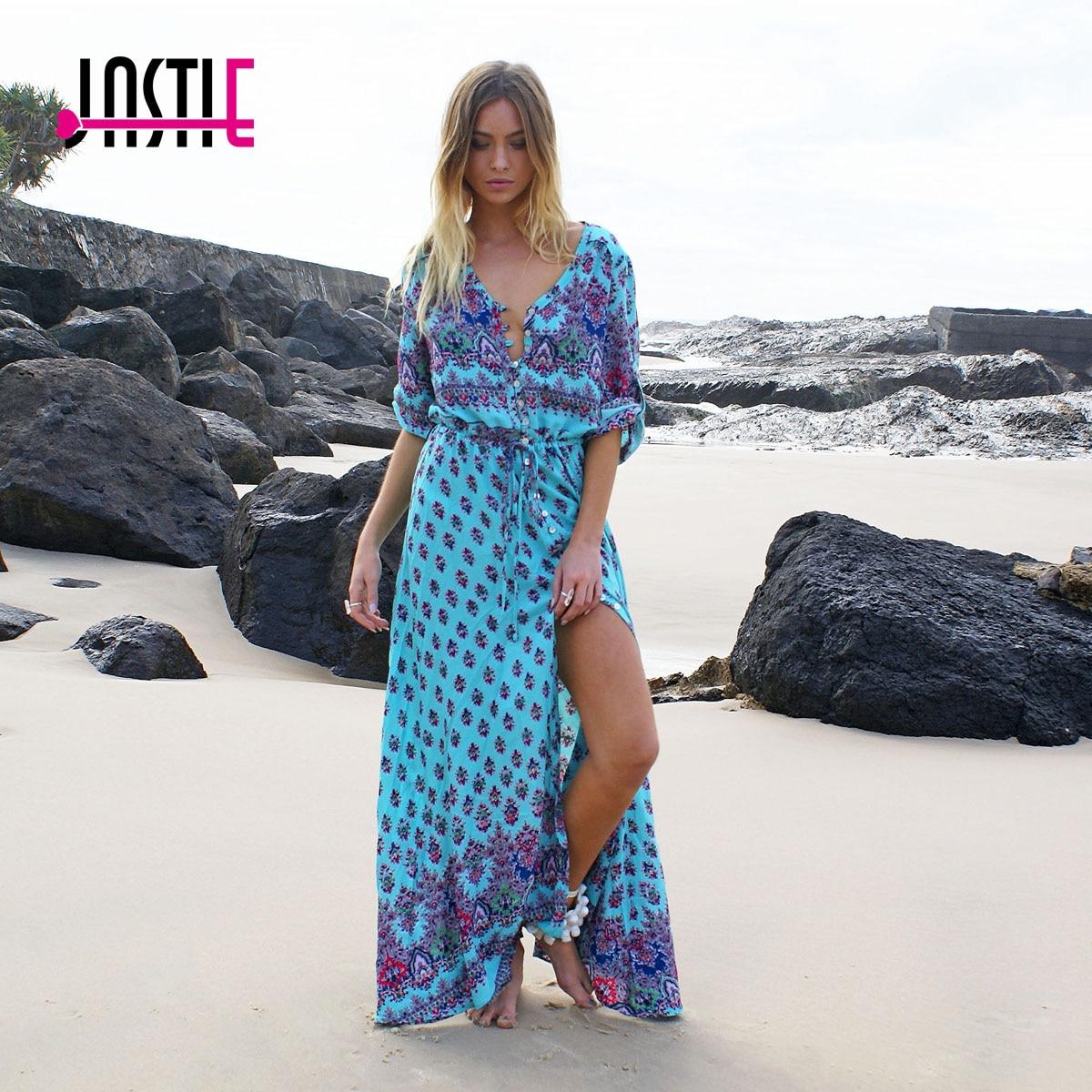 Jastie Vintage Floral Printed Maxi Dress 3/4 Sleeve Boho Beach Dresses Loose Casual V-Neck Split Tunic Summer Women Vestidos