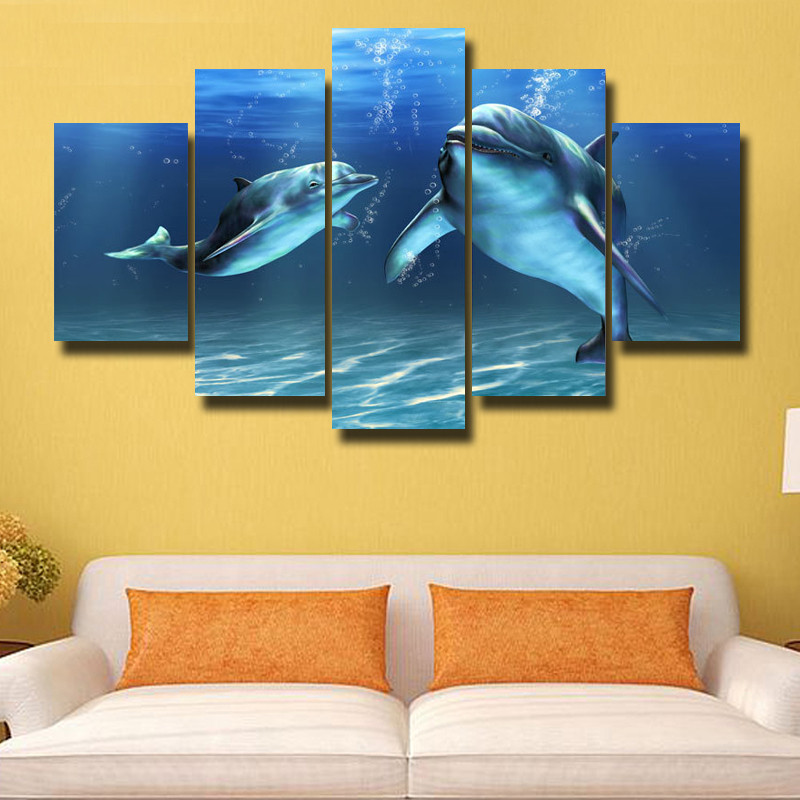 5 pieces Oil Painting On Canvas Whale HD Paint Ocean Wall Art ...