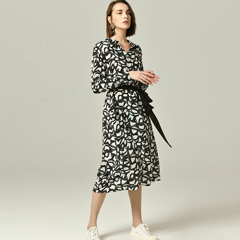 100% шелковое женское платье с принтом, простое дизайнерское платье с воротником стойкой, с длинными рукавами и поясом, Повседневное платье из ткани, новый модный стиль 2019