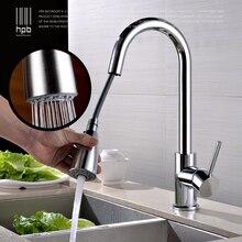 Блаватская латунь щеткой вытащить спрей кран кухни смеситель для раковины одной ручкой на бортике горячей и холодной воды pb-свободный HP4104