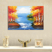 MODERN ABSTRACT Home WALL ART OIL PAINTING ON CANVAS  RIVER TREE free shipping no framed
