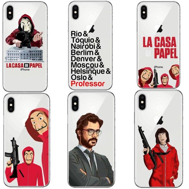 1712edddc89 Spain TV La Casa de papel Soft Silicone TPU Phone Case Cover For iPhone SE  5 5S 6 6sPlus 7 7 Plus 8 8 Plus X 10 Phone Bag Cover