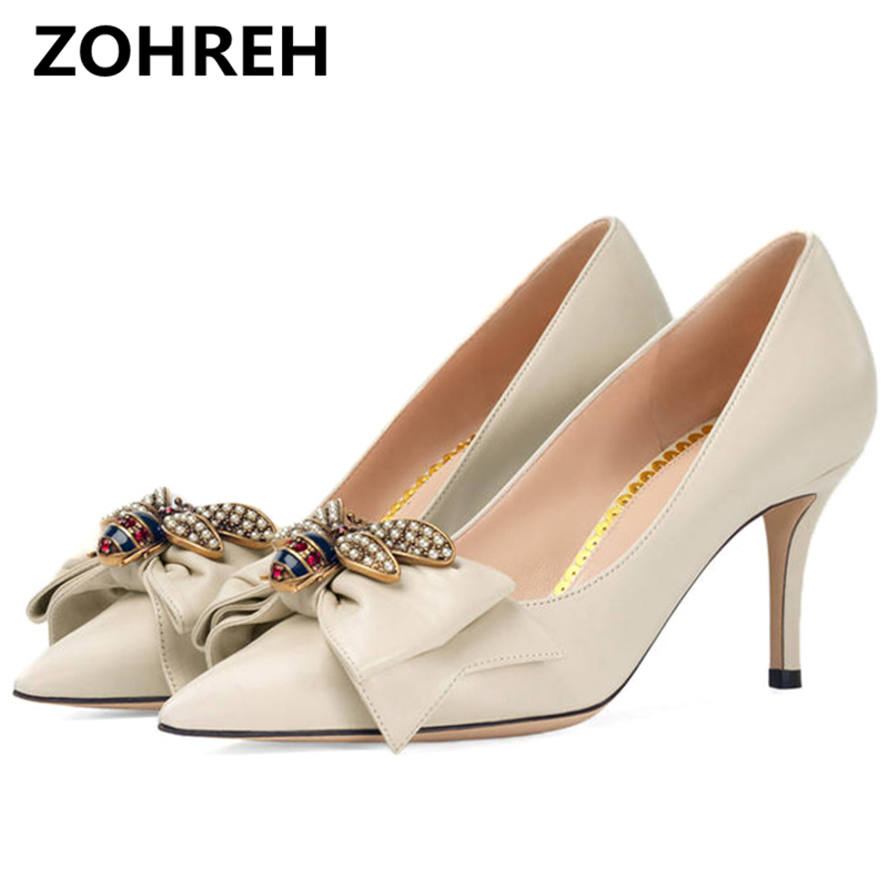 ZOHREH 2018 New High Heels Shoes Women Pumps Stiletto Thin Heel Pointed Toe Bowtie Bee Matal Decoration Zapatos Shallow Dress burgundy gray saphire blue pink women dress party career work shoes flock shallow mouth stiletto thin high heel pumps