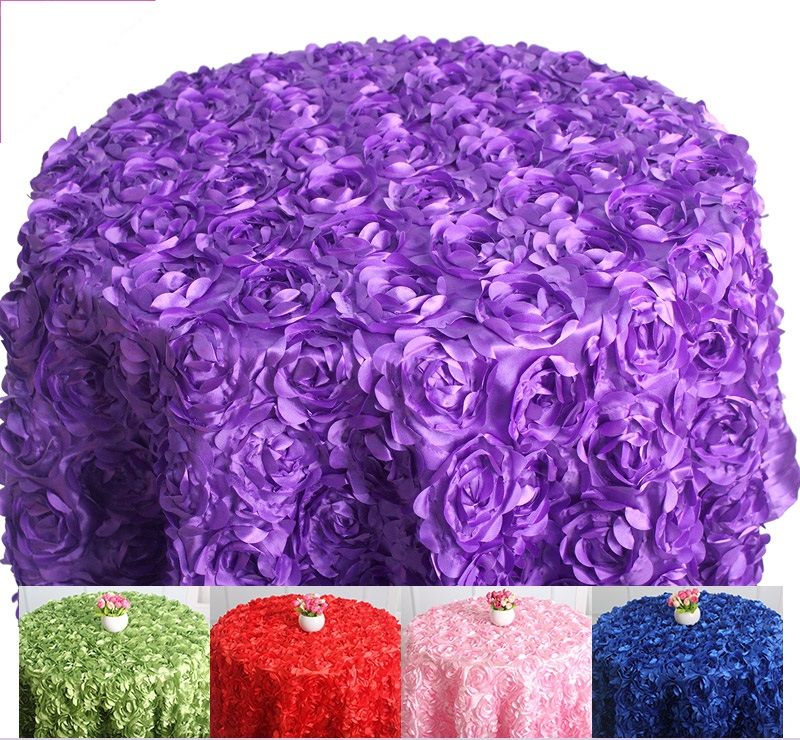Various colours Round Table cloth rosette embroider table cover 3D rose flower design for wedding party hotel round table