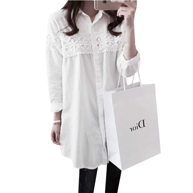 2017 ניו סתיו חולצת תחרה לבנה בתוספת גודל 4XL נשים חולצות מקרית Loose חולצות השרוול הארוך וינטג גבירותיי חולצות Blusas AB318