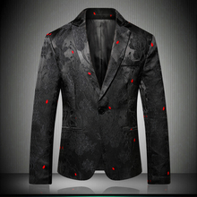 Floral Stylish Blazers For Men Slim Fit 2019 Black Mens Blazer Pattern Printed Blaser Homens Personality Suit Jacket 6601
