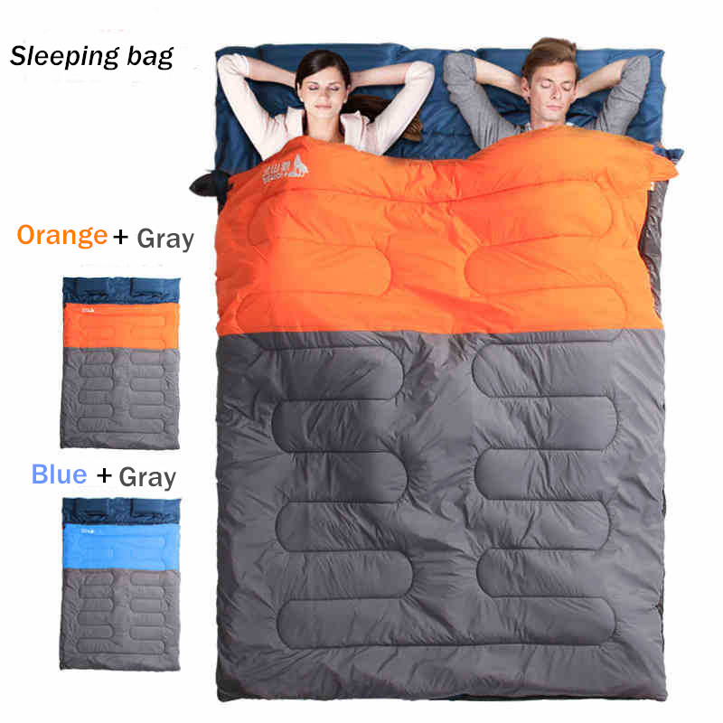 Sleeping Bag Couple with pillows outdoor camping indoor mat for lunch break portable Adult lover warm for four seasons (3)