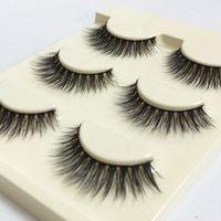 32c9c48eaac 3pairs/box 3D 3D false eyelashes 100% Handmade transparent stalk crossing  fiber super soft