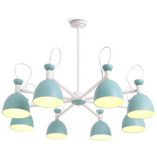 все цены на Nordic living room chandelier iron art modern simple style macarons creative small bedroom restaurant 3/6/8 head LED Lamp онлайн