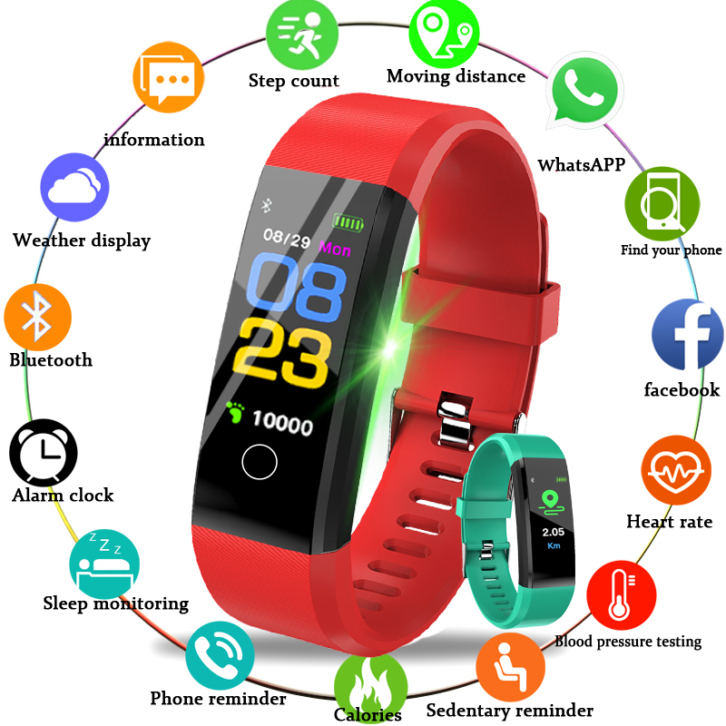 GEJIAN Smart Bracelet Heart Rate Monitor Blood Pressure Monitor Colorful Screen Vibrating Alarm Clock Pk Fitbits Miband 3