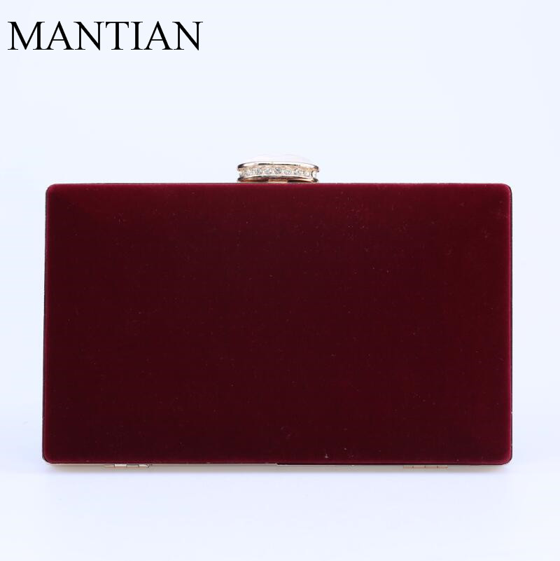 2017 European Fashion Women Clutch Bag Velvet Shoulder Chain Evening Bags Wine Color Messenger Hard Case Purse In Clutches From Luggage On