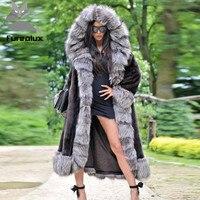 Furealux реального норки пальто для Для женщин Silver fox манжеты с большим капюшоном Куртка и норки пальто супер длинные пальто юбка