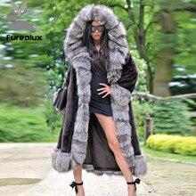 Furealux Real Mink Fur Coats For Women Silver fox cuffs With Big Hood Jacket and Mink Fur Coat Super Long Coats Skirt