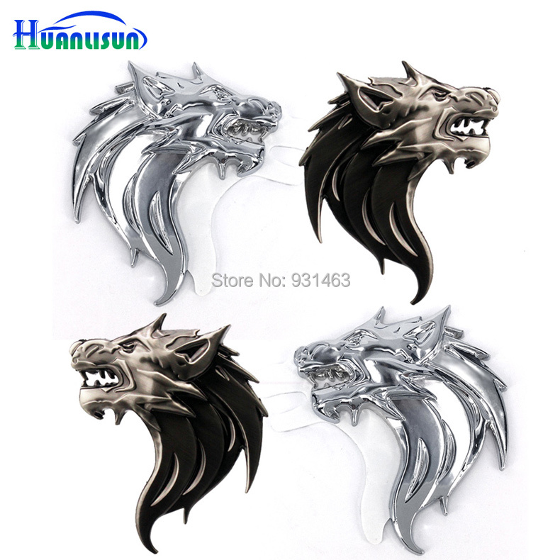 HUANLISUN car styling animal pattern 3D Emblem Side metal 3M badge motorcycle car stickers emblem For car modificatio