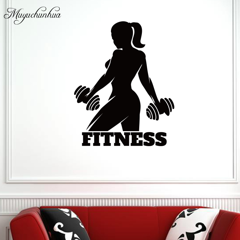 Muyuchunhua Fitness Girl Wall Sticker Bodybuilder Sport Wall Decal for Home Decoration Room Gym Decor Removable Vinyl Art Murals