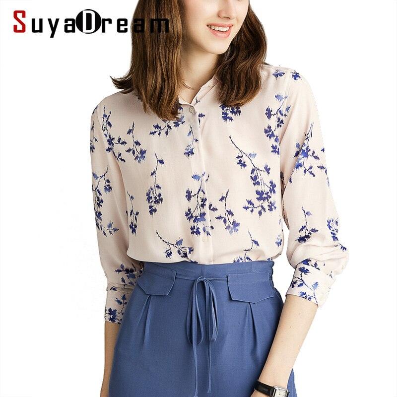 Women Print Blouse 100 REAL SILK Long Sleeved Chiffon Blouse Shirt Office Lady 2019 Spring Summer