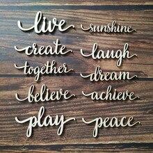 10 шт., живой солнечный свет, создавайте смех вместе, мечта, верьте, достигайте мира, скрипт, слово, деревянный знак, настенные деревянные украшения, Висячие