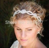 2015 yeni Toptan ve Perakende moda el yapımı çiçek şekli kristal boncuk gelin düğün parti elastik hairband saç aksesuarları