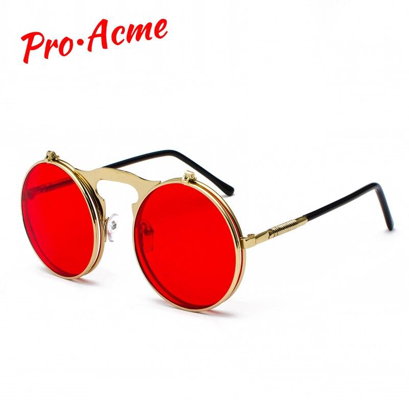 fb9bf4325b Pro Acme Retro Steam Punk gafas de sol redondas Flip Up marco de Metal gafas  Ocean Red lente Steampunk gafas de sol mujeres hombres CC1060