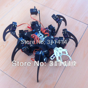 1set Arduino Aluminum 6Foot Spider robot 20DOF Six Legs Robot Frame Kit Set With Mechanical Gripper Promotion + Free Shipping