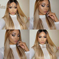 Free Shipping heat resistant black to blonde brown two tone ombre color straight ombre synthetic lace front wig for black women
