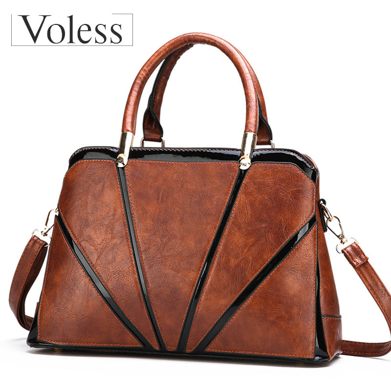 VOLESS Large Capacity Women PU Leather Bags Luxury Handbags Women Bags Designer Casual Female Patchwork Tote Bag Bolsa Feminina vintage women pu leather handbags patchwork shoulder bags messenger bags casual tote diagonal bag female bags bolsa feminina