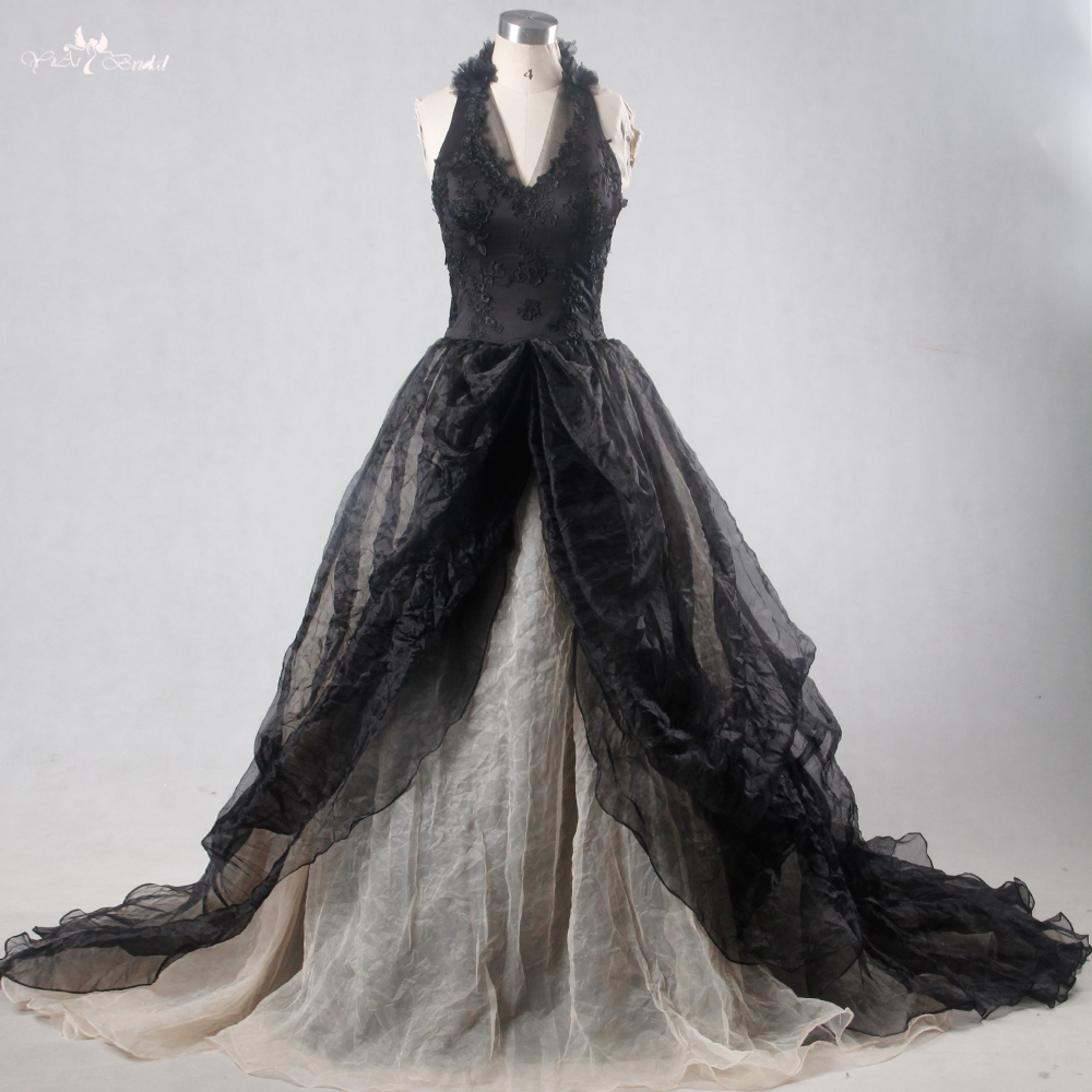 Gothic Wedding Gown: RSW1114 Yiaibridal Real Picture Black Gothic Wedding