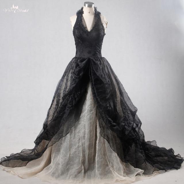 RSW1114 Yiaibridal Real Picture Black Gothic Wedding Dresses Wedding ...