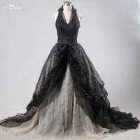RSW1114 Yiaibridal Real Picture Black Gothic Wedding Dresses Wedding Gown