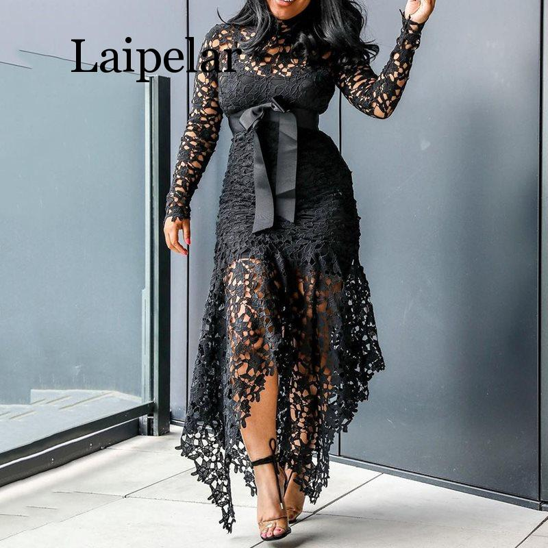 Laipelar Vintage Party Sexy Black Lace Long Dress Plus Big Size Large M XXXL 4XL Women Mesh Hollow Blue African Maxi Dress Ladie in Dresses from Women 39 s Clothing