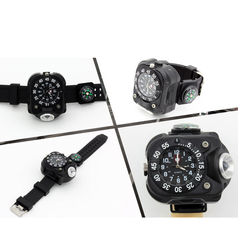 Security & Protection 3in1 Super Bright Led Watch Flashlight Torch Lights Compass Outdoor Sports Mens Fashion Waterproof Rechargeable Wrist Watch Lamp