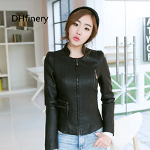 2017 spring leather clothing female short design stand collar coat slim PU jacket women 15H121