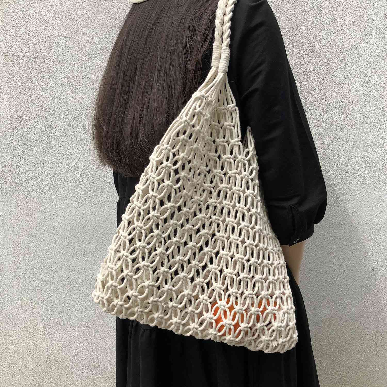ABDB-Fashion Popular Woven Bag Mesh Rope Weaving Tie Buckle Reticulate Hollow Bag No Lined Net Shoulder BagABDB-Fashion Popular Woven Bag Mesh Rope Weaving Tie Buckle Reticulate Hollow Bag No Lined Net Shoulder Bag