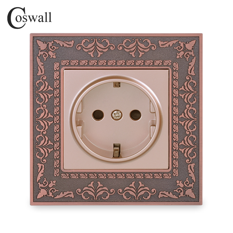 Coswall 16A EU Standard Power Socket 4D Embossing Retro Zinc Alloy Panel Wall Power Socket AC 110~250V