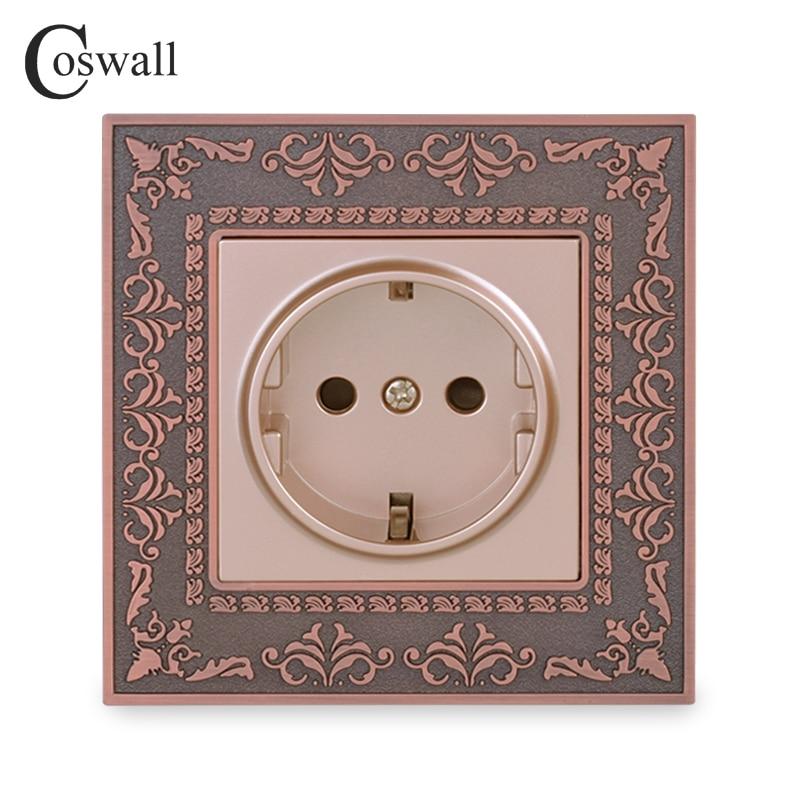 Coswall 16A EU Standard Power Socket 4D Embossing Retro Zinc Alloy Panel Wall Power Socket AC 110~250V