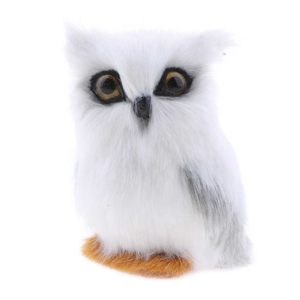 Lovely Simulated White Owl Animal Decor Prop Gift Artificial Owl Decoration Craft