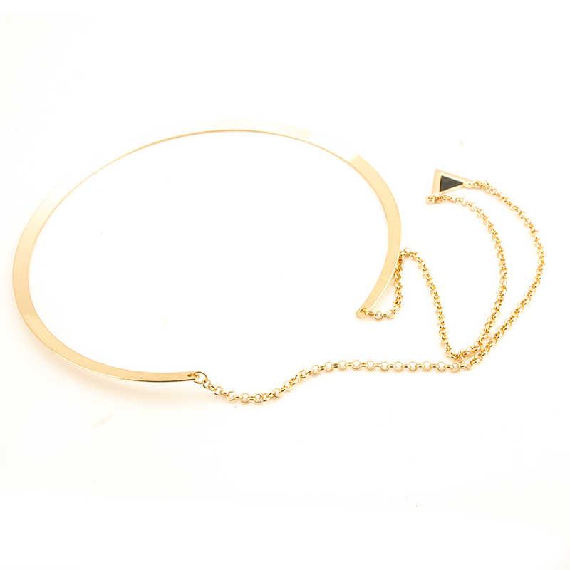 Nowy LNRRABC kobiety Hot złoty kolor duże koło emalia trójkąt wisiorki Choker naszyjnik biżuteria akcesoria do prezentów Drop Shipping