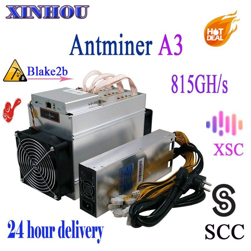 En stock SCC XSC mineur Antminer A3 815GH/s ASIC Blake2b Mineur avec 1800 W PSU, plus économique que S9 T9 M3 S11