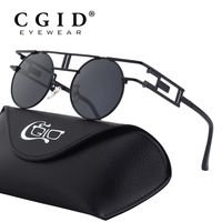 CGID Retro Steampunk Style Inspired Round Metal Circle Polarized Sunglasses For Men And Women E93