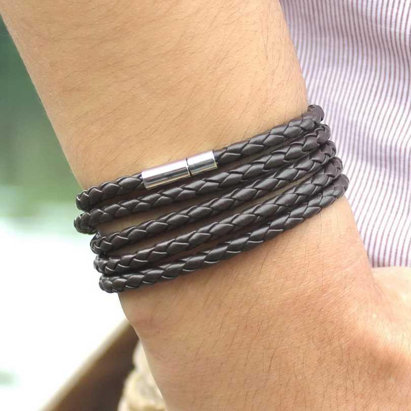XQNI bracciale da uomo lungo in pelle nera avvolgente retrò di marca braccialetti da uomo bracciale da uomo con ciondolo a maglie a catena con 5 giri