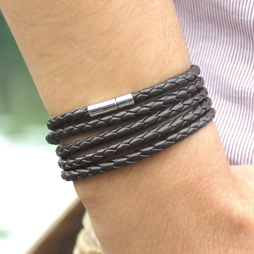 XQNI brand black retro Wrap Long leather bracelet men bangles fashion sproty Chain link male charm bracelet with 5 laps 3