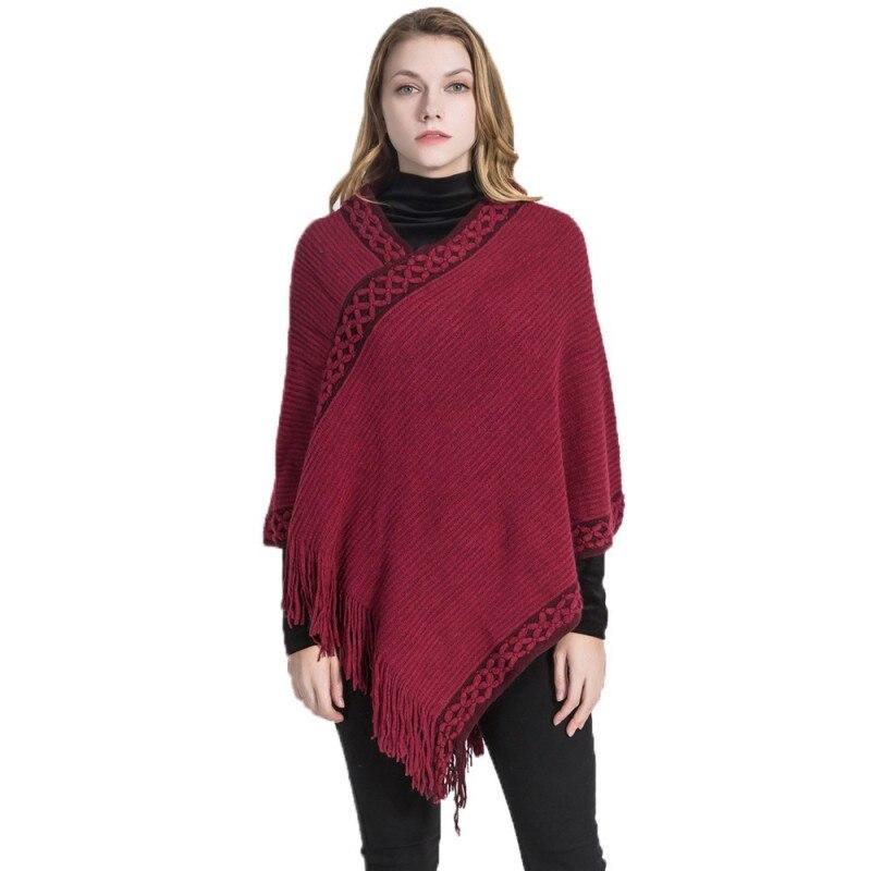1 Stück Frauen Knited Pullover Solide Sexy Plus Größe Winter Warme Herbst Bestickte Ausschnitt Quaste Pullover Kaschmir Schal Weibliche Tops