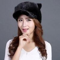 Genuine Mink Beanie Chapéus Mulheres Bonito Orelhas E Cauda de Gato tampas Headgears Nova Moda de Alta Qualidade de Pele De Vison Pele Grossa Preta chapéus