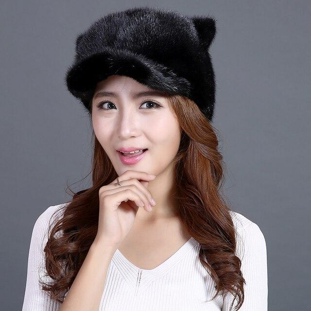 Genuine Mink Fur Beanie Hats Women Cute Cat Ears And Tail Caps Black Mink Fur Headgears New Fashion High Quality Thick Fur Hats