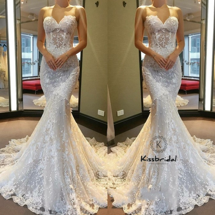Sweetheart Neckline Lace Mermaid Wedding Dresses New 2019: New Vintage Lace Wedding Dresses 2018 Sweetheart Neckline