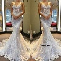 New Vintage Lace Wedding Dresses 2018 Sweetheart Neckline Romantic Mermaid Bride Wedding Gowns Corset Back
