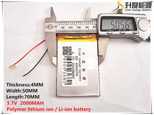 1pcs [SD] 3.7V,2000mAH,[405070] Polymer lithium ion / Li-ion battery for TOY,POWER BANK,GPS,mp3,mp4,cell phone,speaker