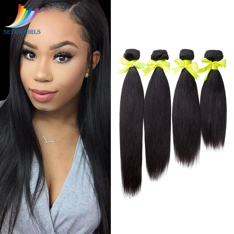 Sevengirls Brazilian Straight Virgin <font><b>Hair</b></font> Bundle <font><b>Grade</b></font> <font><b>10A</b></font> <font><b>Hair</b></font> Extension Natural Color 4 Bundles Free Shipping 10-30 Inch image