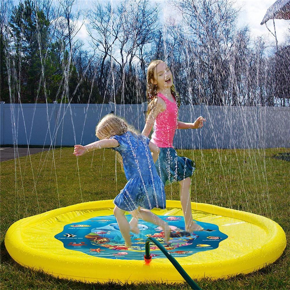Bath Toys  Swiming Pool  Children's Baby Play Water Mat Games Beach Pad Lawn Inflatable Spray Water Cushion Toys Outdoor